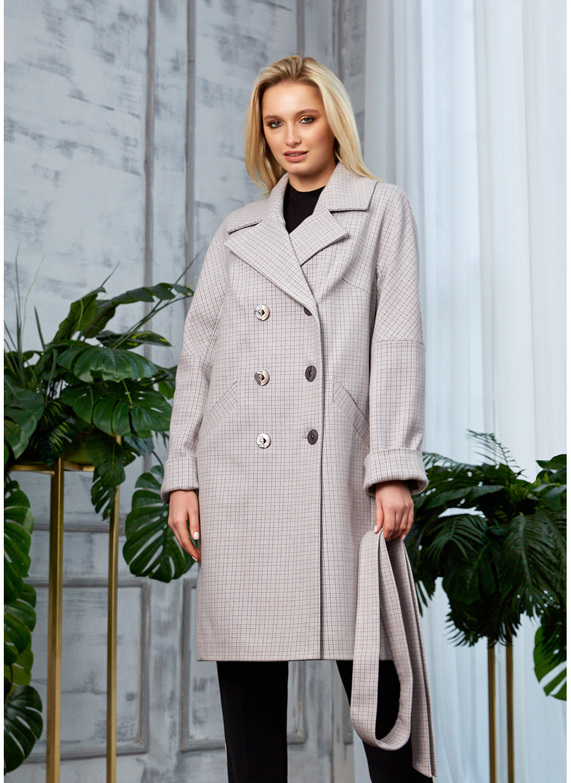 Женское Демисезонное Пальто Амелия Кашемир Клетка Светло-серый купить в Украине: фото, цена, характеристики, отзывы - фото 1