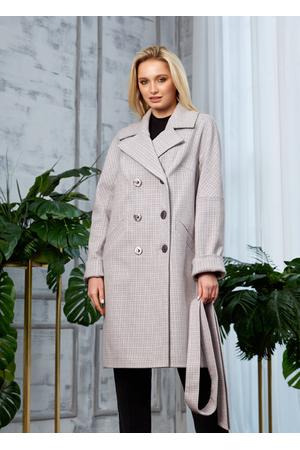 Женское Демисезонное Пальто Амелия Кашемир Клетка Светло-серый