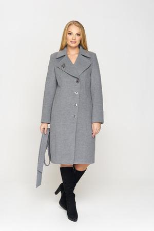 Женское демисезонное Пальто Адель кашемир  серый