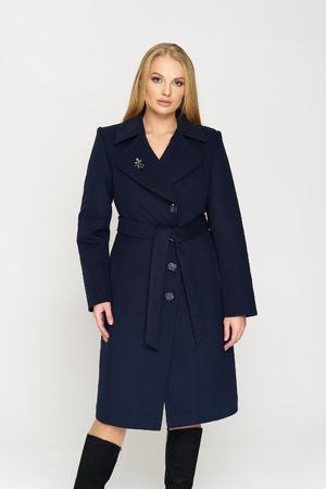 Женское демисезонное Пальто Адель кашемир  Тёмно-синий