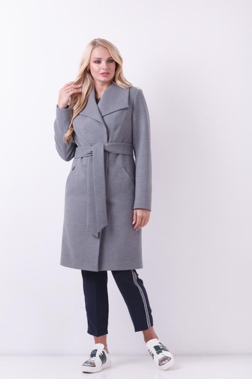 Женское Демисезонное Пальто Валерия Шерсть Меланж серый
