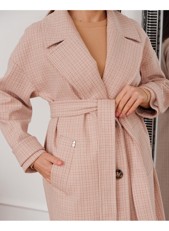Женское Демисезонное Пальто Корсика Кашемир Клетка Розовый купить в Украине: фото, цена, характеристики, отзывы - фото 2