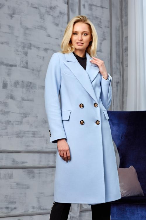 Женское Демисезонное Пальто Монако Кашемир Голубой