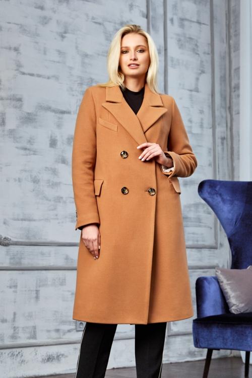 Женское Демисезонное Пальто Монако Кашемир Светло-коричневый