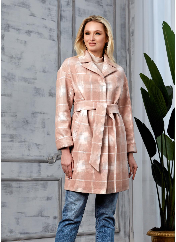 Женское Демисезонное Пальто Окси Кашемир Клетка Розовый купить в Украине: фото, цена, характеристики, отзывы - фото 1