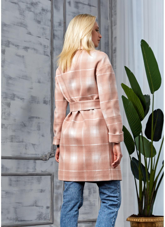 Женское Демисезонное Пальто Окси Кашемир Клетка Розовый купить в Украине: фото, цена, характеристики, отзывы - фото 3