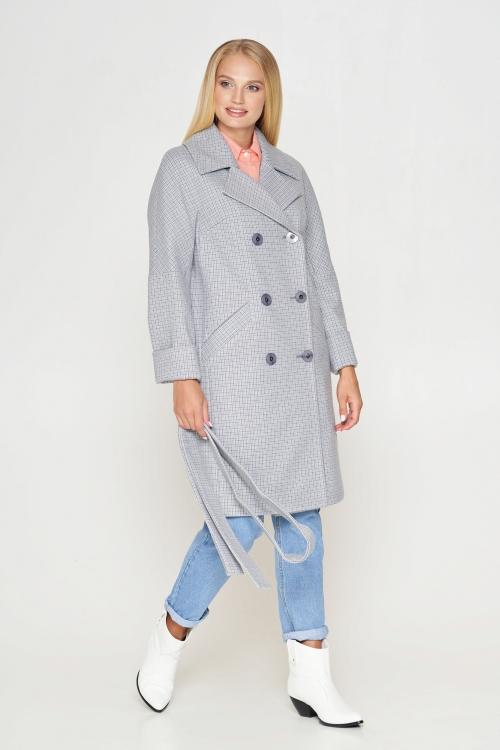 Женское Демисезонное Пальто Амелия Шерсть Клетка Светло-серый