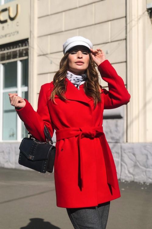 Пальто Лера, деми, кашемир, красный