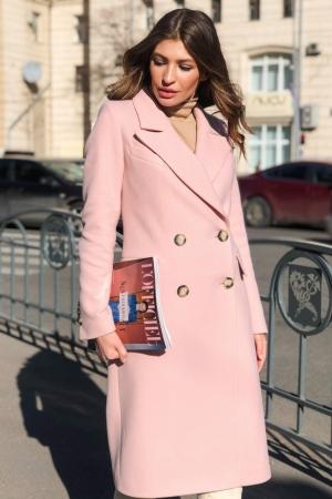 Женское Демисезонное Пальто Монако Кашемир Персик длинное
