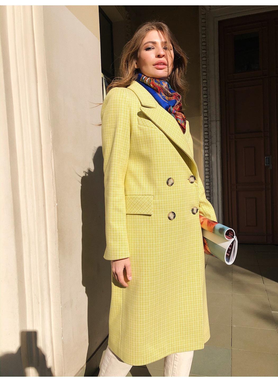 Женское Демисезонное Пальто Монако Кашемир Клетка Лимонный 8817 Длинное