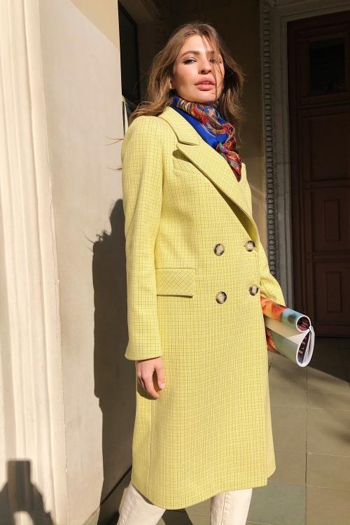 Женское Демисезонное Пальто Монако Кашемир Клетка Лимонный Длинное