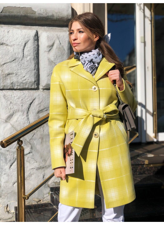 Женское Демисезонное Пальто Окси Кашемир Клетка Лимонный купить в Украине: фото, цена, характеристики, отзывы - фото 1