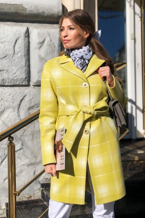 Женское Демисезонное Пальто Окси Кашемир Клетка Лимонный