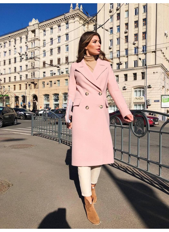 Женское Демисезонное Пальто Монако Кашемир Персик длинное купить в Украине: фото, цена, характеристики, отзывы - фото 2