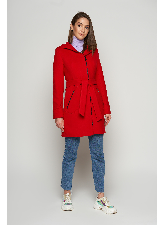 Женское Демисезонное Пальто Бриджит с капюшоном Шерсть Красный купить в Украине: фото, цена, характеристики, отзывы - фото 1