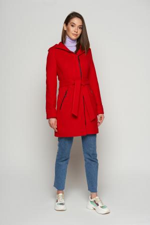 Женское Демисезонное Пальто Бриджит с капюшоном Шерсть Красный