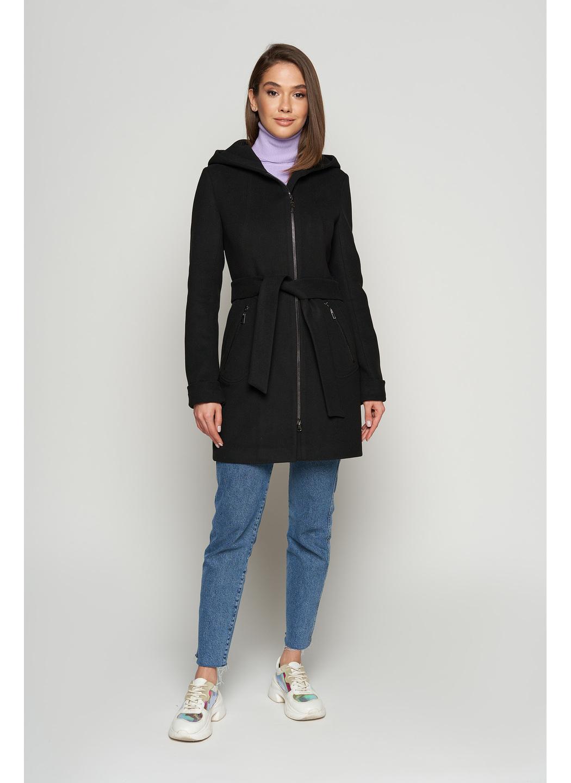 Женское Демисезонное Пальто Бриджит  с капюшоном Шерсть Черный купить в Украине: фото, цена, характеристики, отзывы - фото 1
