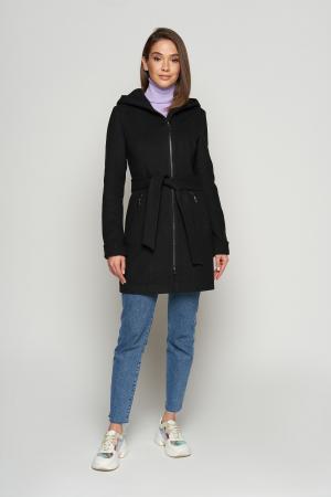 Женское Демисезонное Пальто Бриджит  с капюшоном Шерсть Черный