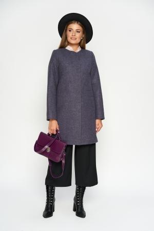 Пальто Диана, деми, шерсть, фиолетовый