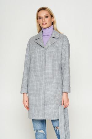 Пальто Окси, деми, клетка, серый 8803