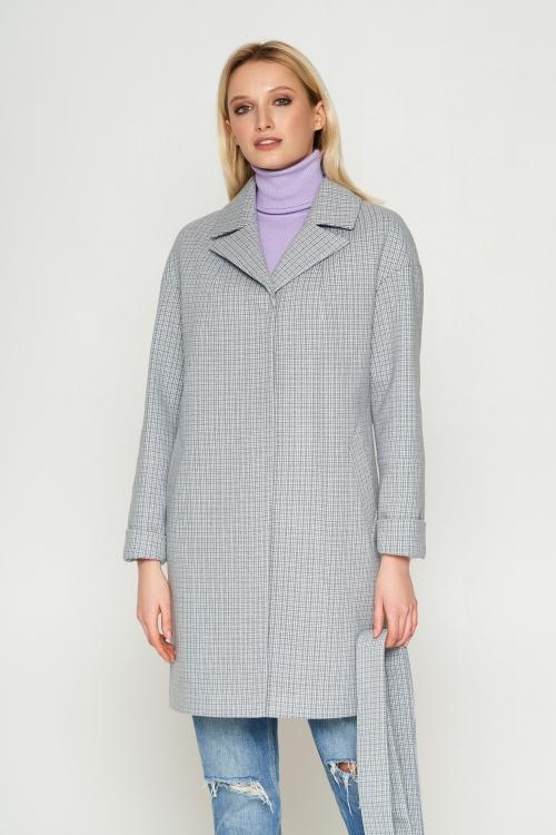Женское Демисезонное Пальто Окси Кашемир Клетка Серый 8803