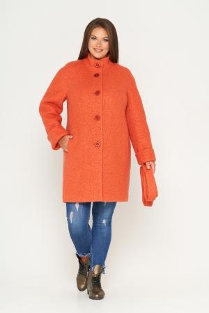 Пальто Шарлотта, зима, букле, оранжевый