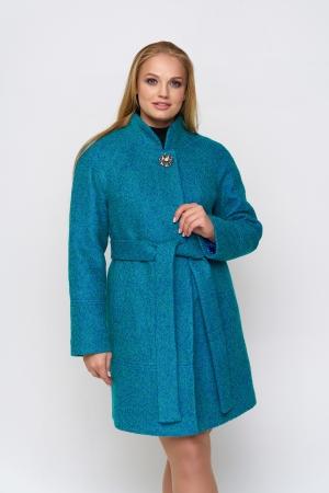 Пальто Иванка, деми, букле, бирюзовый