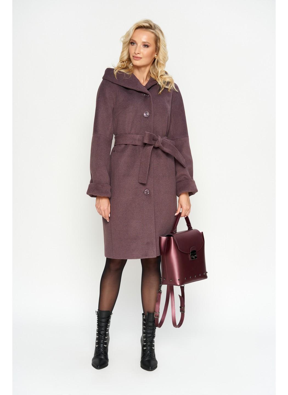 Женское Зимнее Пальто Лора с капюшоном Шерсть Фиолет