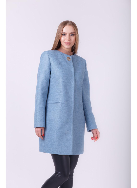 Пальто Диана деми, шерсть, голубой