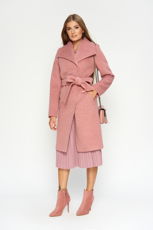 Женское Зимнее Пальто Валерия Шерсть Розовый