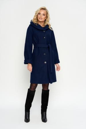 Пальто Лора, зима, джени, темно-синий