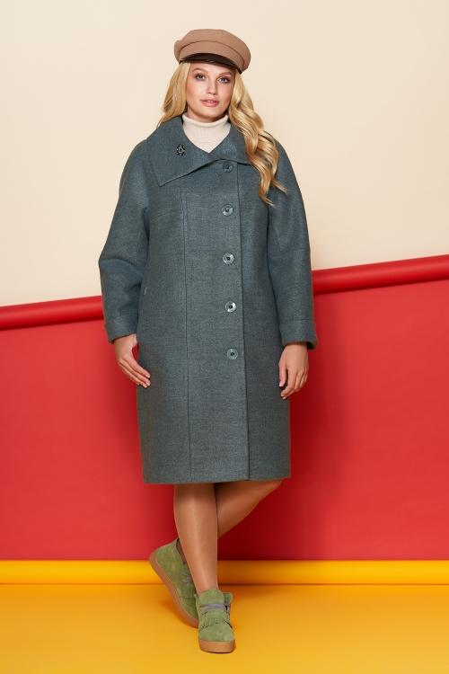 Пальто Лилия, шерсть, зима, оливковый
