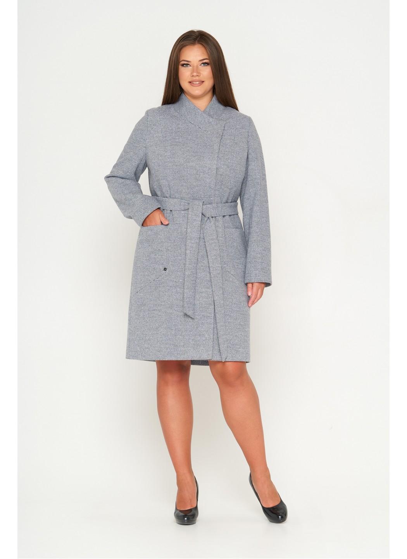 Женское Демисезонное Пальто Венеция Шерсть Диагональ Серо-голубой 1029
