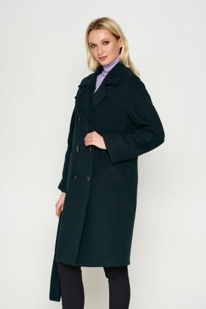 Пальто Амелия, деми, кашемир, темно-зеленый
