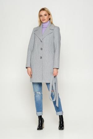 Пальто Влада, деми, клетка, серый