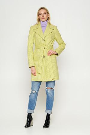 Пальто Влада, деми, клетка, лимонный