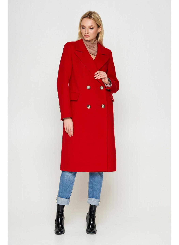 Пальто Монако, деми, кашемир, красный