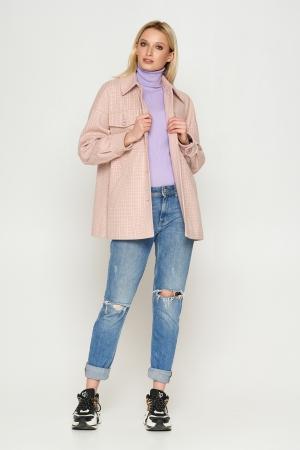 Пальто Сабина, деми, клетка, розовый 8802