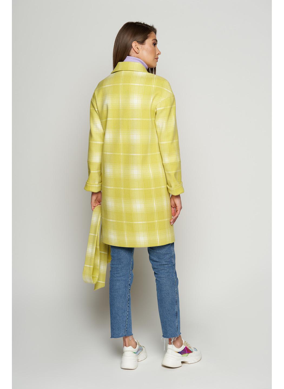 Пальто Окси, деми, клетка, лимонный
