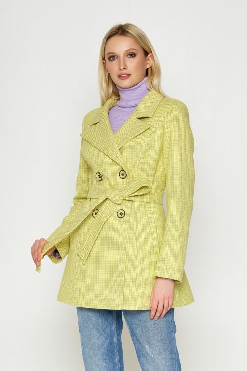Женское Демисезонное Пальто Марта Кашемир Лимонный 8817