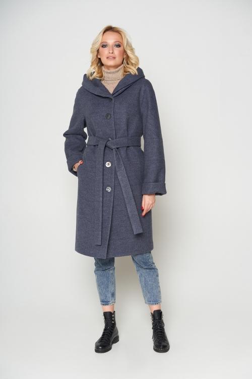 Женское Зимнее Пальто Лора с капюшоном Шерсть Темно-серый
