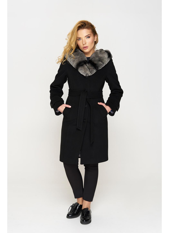Пальто Шиншилла, зима, кашемир, чёрный