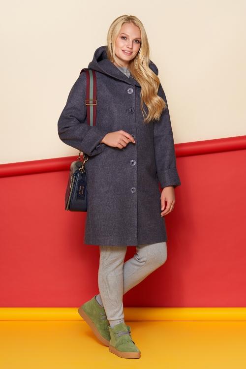 Женское Зимнее Пальто Марго с капюшоном Шерсть Фиолетовый