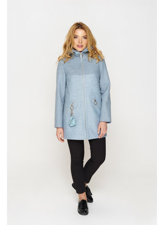 Женское Демисезонное Пальто Кэти с капюшоном Шерсть Голубой купить в Украине: фото, цена, характеристики, отзывы - фото 3
