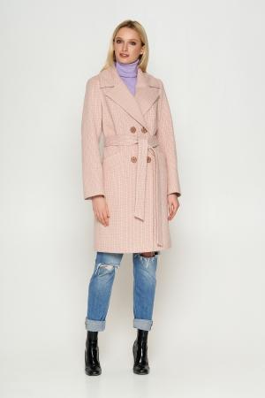 Пальто Нонна, деми, клетка, розовый