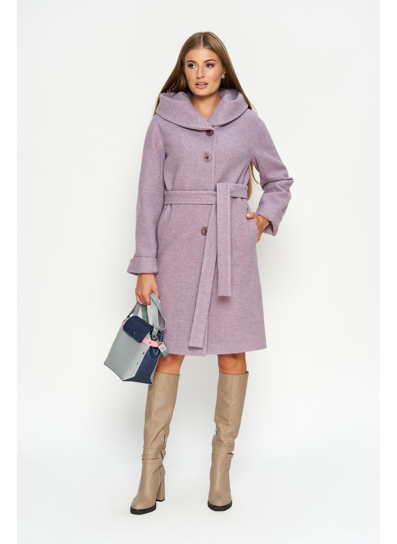 Женское Зимнее Пальто Лора с капюшоном Шерсть Сирень