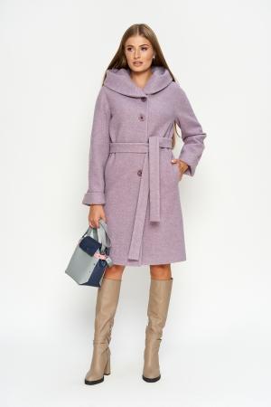 Пальто Лора, зима, джени, сирень