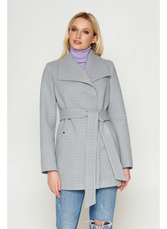 Пальто Лера, деми, клетка, серый 8803 купить в Украине: фото, цена, характеристики, отзывы - фото 1