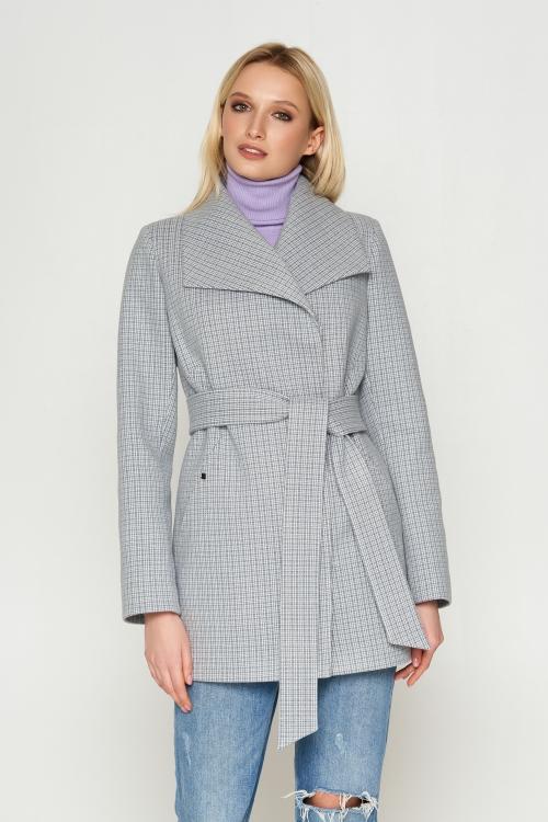Пальто Лера, деми, клетка, серый 8803