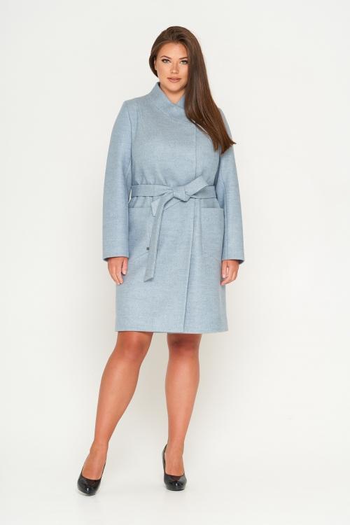 Женское Демисезонное Пальто Венеция Шерсть Бледно-голубой
